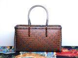網代バッグ(綾目 茶) 高級竹バッグ かごバッグ バッグ通販 横長バッグ